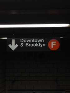 Downtown F sign