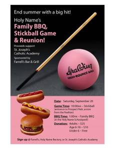 Stickball game flyer
